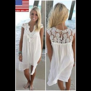Women V Neck Lace Patchwork Chiffon Beach Party Sl